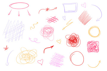 Hand drawn lines on isolated white background. Chaotic textures with hatching. Wavy tangled backdrops. Colorful illustration. Elements for posters and flyers