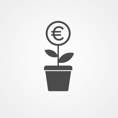 Euro plant vector icon sign symbol