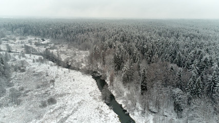 Winter season aerial top down view