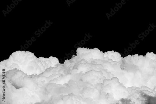 Cumulus cloud on black sky panorama, Isolated cloud on black