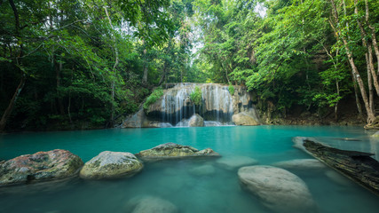 Wonderful green waterfall and nice for relaxation, Breathtaking and amazing turquoise water at the evergreen forest, Located Erawan waterfall Khanchanaburi Province, Thailand