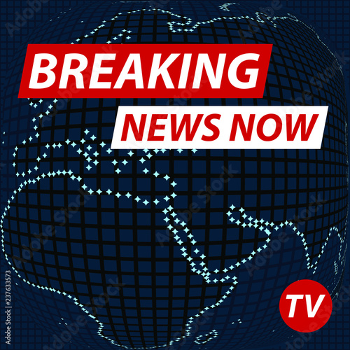 Breaking News Now On Banner Of American Map Technological