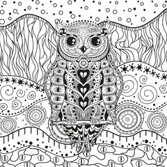 Mandala with owl on isolated white. Zentangle. Hand drawn abstract patterns on isolation background. Design for spiritual relaxation for adults. Black and white illustration for coloring