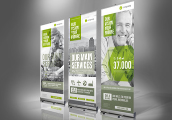 Roll-up Banner Layout with Green Accents