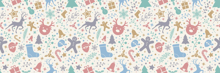 Concept of seamless texture with Christmas ornaments. Vector.