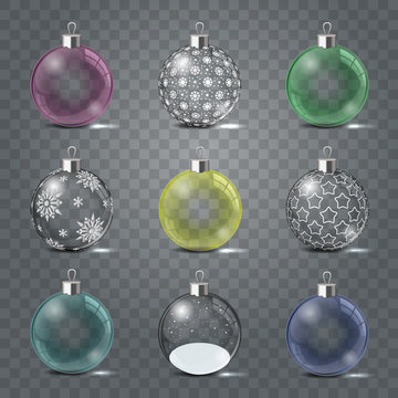 Glass Christmas toys set on a transparent background. Template shiny toy with silver glow. Vector illustration. Isolated object.