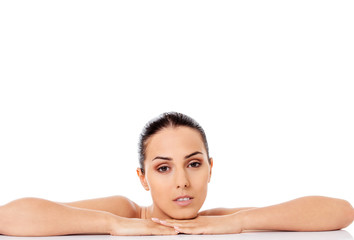 Beauty woman face with perfect fresh clean skin
