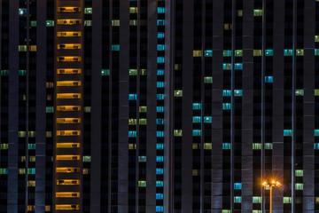 Illuminated windows of hotel