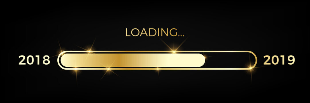 Loading golden progress bar Year 2018 to 2019