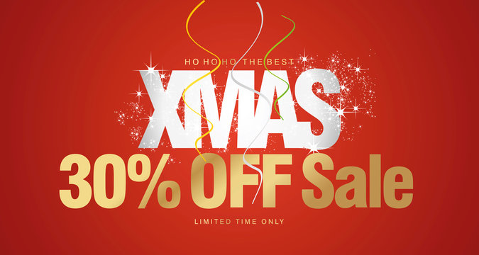 Ho ho ho Christmas Sale 30 percent off limited time only red background voucher