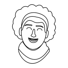 Woman face carrtoon in black and white in black and white