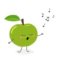 Funny cartoon apple singer