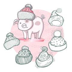 Vector set of hand-drawn funny knitted hats and cartoon pig on powder pink background with golden elements