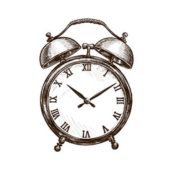 Vintage alarm clock. Time concept. Sketch vector illustration