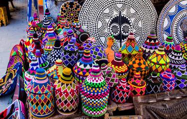 Multicolored handmade moroccan souvenirs in the Medina of Essaouira in Morocco, Africa