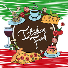 italian flag with delicious food menu