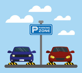 cars with parking signal