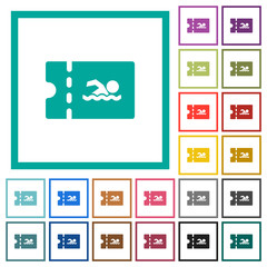 Swimming pool discount coupon flat color icons with quadrant frames