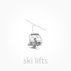 ski lift with man icon. Simple winter elements icon.