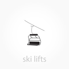 ski lift icon. Simple winter elements icon.