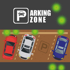 parking zone air view scene