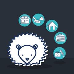 mascots with pets shop set icons