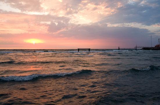 Laesoe / Denmark: Colorful sunset over the Baltic Sea in Vesteroe Havn
