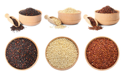 Set with different types of quinoa in bowls on white background