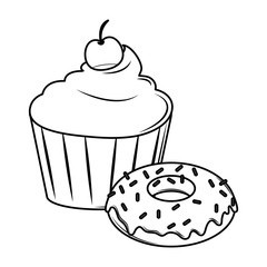 Cupcake and donut black and white