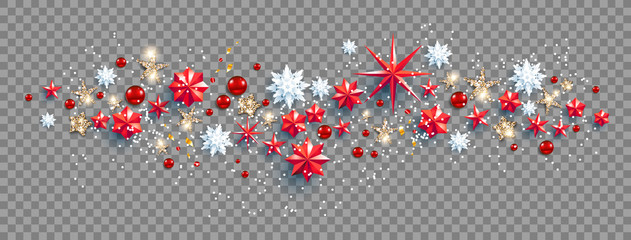 Web Banner Social Media template. Winter decoration with snowflakes, stars and balls festive luxury background