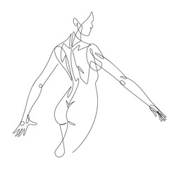 Door stickers One Line Art Female Figure Continuous Line Vector Graphic VI