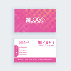 Modern business card template blue stripe pink