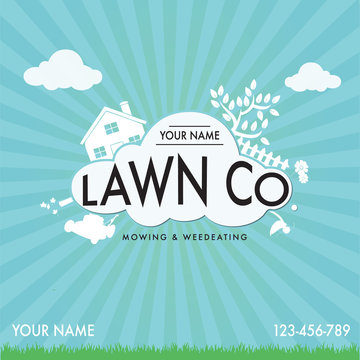 Lawn Mowing Work Business Card with Sunshine Background and Landscaping Equipment.ai