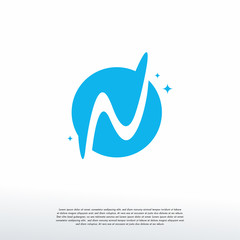 Initial Letter N Swoosh Orbit Logo Designs Vector, N Initial Logo for kids logo template, Logo symbol icon