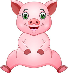 Cute pig cartoon sitting