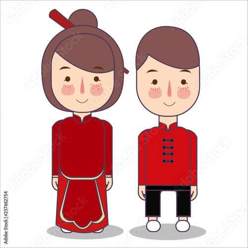 7d9999e38 Chinese bride and groom cartoon wedding. traditional national clothes of  China. Set of cartoon characters in traditional costume. Cute people.