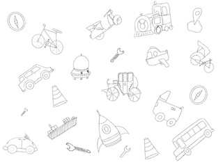 transportation hand drawn sketch doodle with various object