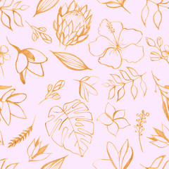 Watercolor seamless tropical pattern. Texture with tropical leaves, flowers, golden plants, palm trees. Great for wallpaper, scrapbooking, summer and wedding design, packaging, textiles, fabrics.