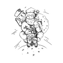 Merry Christmas Logo, Santa Claus