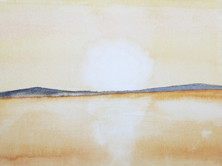 watercolor painting landscape sea sunset or sunrise  on the mountain island.