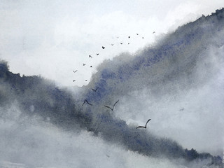 watercolor misty landscape mountain fog and birds flying in the sky. traditional oriental ink asia art style