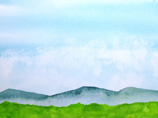 watercolor painting green mountain with blue sly.