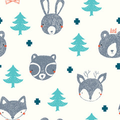 Cute woodland vector pattern, deer, fox, rabbit , bear and raccoon faces with trees on a cream background