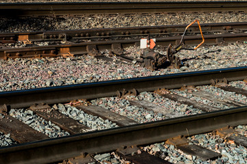 Railroad tracks with a rusty switch