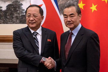 North Korean Foreign Minister Ri Yong Ho meets China's Foreign Minister Wang Yi at the Diaoyutai State Guesthouse in Beijing