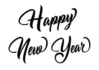 Happy New Year Lettering, Isolated on White Background. Vector illustration. Can be used for holidays festive design.