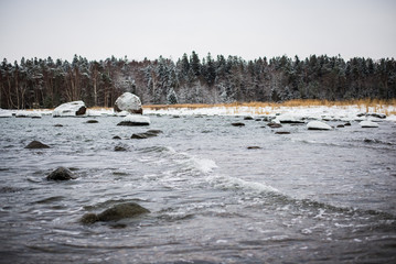A view of the frozen river, stones and snow-covered trees. Forest in the background. Lahemaa national park, Estonia