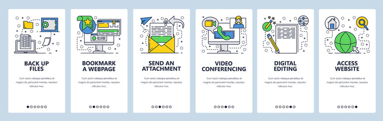 Web site onboarding screens. Files and computer services. Menu vector banner template for website and mobile app development. Modern design linear art flat illustration.