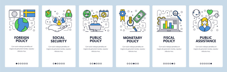 Wall Mural - Web site onboarding screens. Government office policy and ministry. Menu vector banner template for website and mobile app development. Modern design linear art flat illustration.