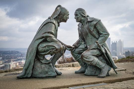 The bronze depicts George Washington and the Seneca leader Guyasuta, Pittsburgh, USA